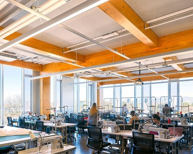 The floor to ceiling windows in the classrooms create a lot of natural light for the students.