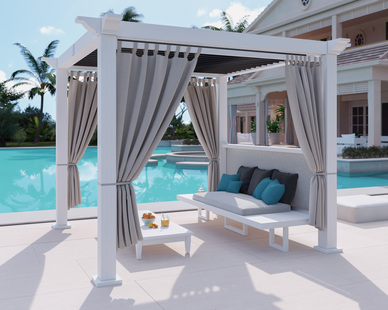 A poolside cabana makes perfect sense, especially when the automated louvers open and close for absolute weather protection.