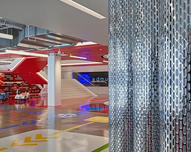 Fluxwerx Edmunds Office Headquarters View Linear Pendant Atrium Design