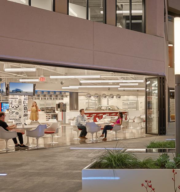 Fluxwerx Edmunds Office Headquarters View Linear Pendant Cafeteria Design