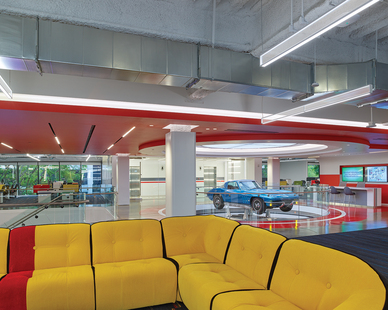 Fluxwerx Edmunds Office Headquarters View Linear Pendant Open Common Area Seating