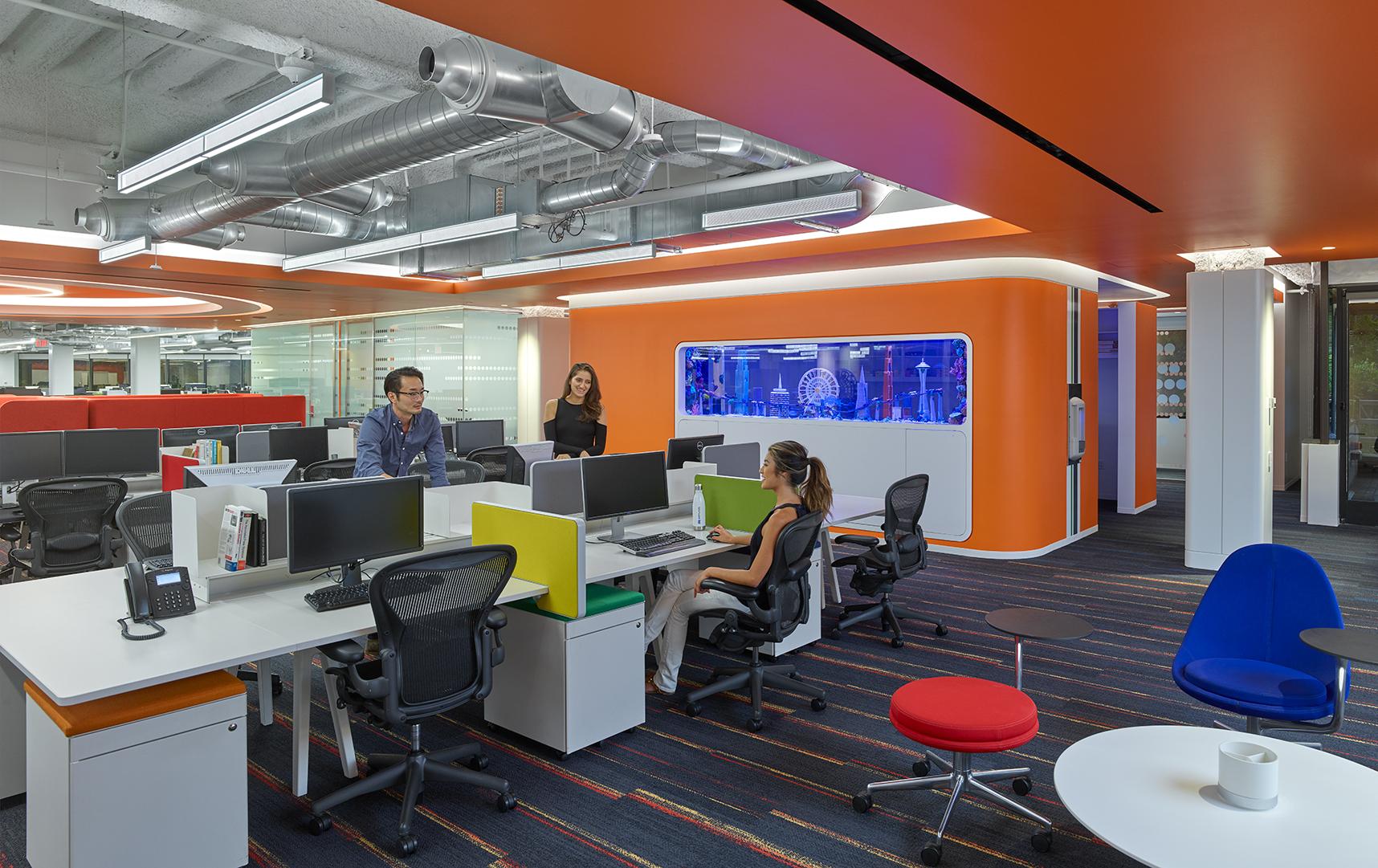Fluxwerx Edmunds Office Headquarters View Linear Pendant Open Layout Workstations