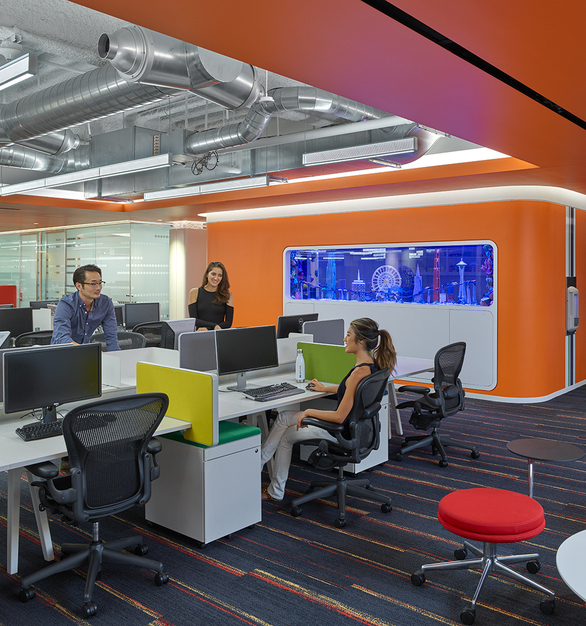 Fluxwerx Edmunds Office Headquarters View Linear Pendant Open Layout Workstations