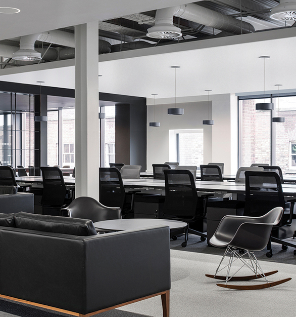 Open concept office design featuring our Portal recessed and pendant luminaires. Portal Pendant adds indirect optical distributions for even more versatility and aesthetic differentiation. Portal options provide seamless design integration. The choice is yours.