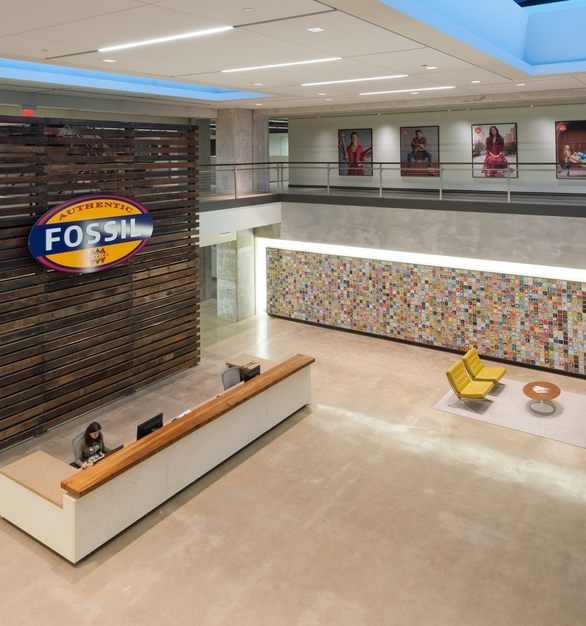 The eye-catching slatted wall feature at Fossil headquarters in Richardson, Texas, by Urban Woods Company.