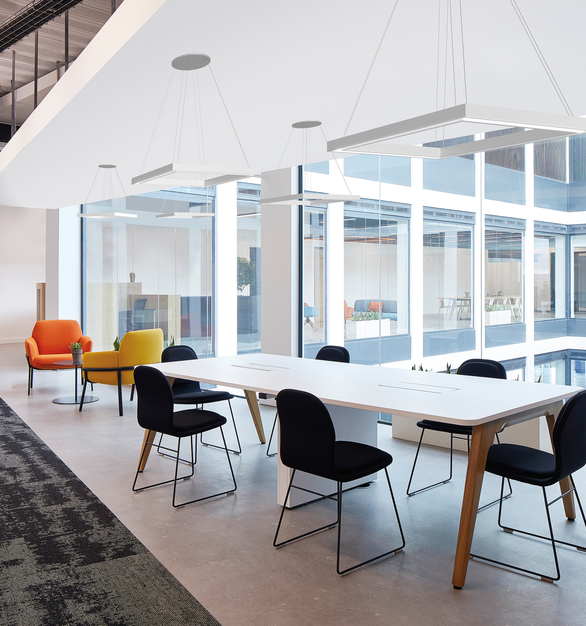 The Profile Mini Frame has a balance of performance and design from every angle.  Shown here in a Frame Square with white powdercoat, the luminaire offers light along with the large windows for the office hallway and open meeting space.