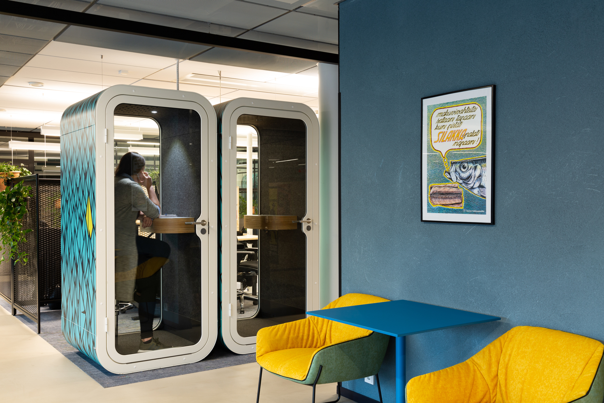 Framery's Framery O office pod can be put in different areas throughout your interior spaces due to its versatile design and look.