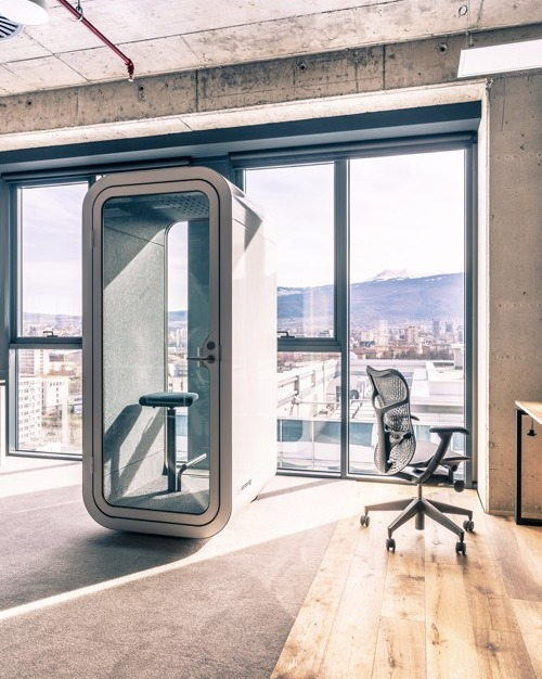 Enjoy the view and private conversations with the Framery O office pod by Framery Acoustics. The versatile design allows it to be placed anywhere in your interior office space.