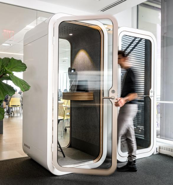 Framery pods and office phone booths make the workplace happier by reducing noise and distractions, so people can concentrate better and be more productive. They are ideal for holding meetings, conference calls and ad-hoc discussions reducing the need to build expensive and space-consuming meeting rooms.