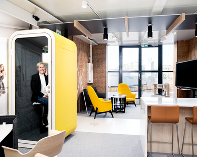 Tampere Deck Visit Center is home for two Framery pods that provide the visit center's staff much needed privacy.