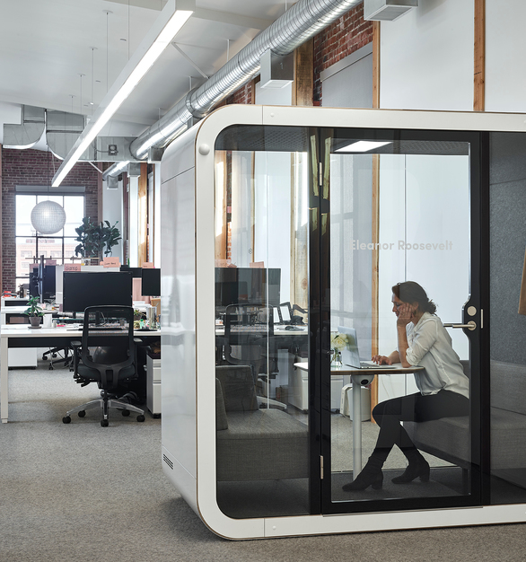ThirdLove is a fashion startup based in San Francisco, California. Noma Design came up with a bright and vibrant interior by also incorporating Framery's Framery Q office pod. Photography by Adrian Gregorutti