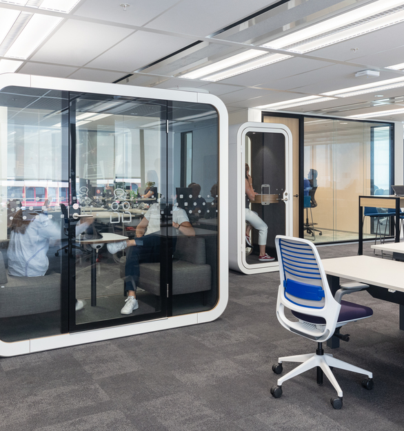 Privacy can still be achieved in an open office plan. The Framery Q office pods give employees a quiet and comfortable space to collaborate and brainstorm.