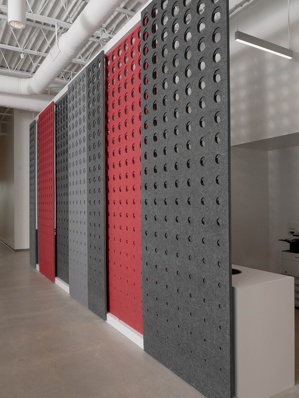 Seen here are the PANL walls from Fräsch which create a visual and acoustical division for your space.