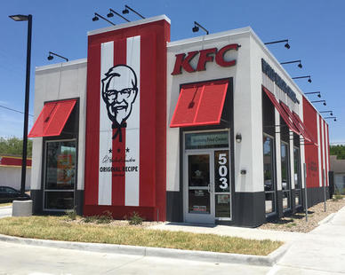 Fullerton Building Systems wood-framed building package with factory-applied finishes can be delivered to your site and assembled within 3 to 4 days. This KFC location was completed in Elsa, Texas.