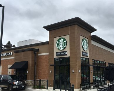 Shown here is the Starbucks retailer within the Launch Properties strip mall. You can see the products used such as BrickWal, Stone and Nichiha exterior finish.