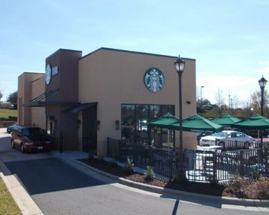 This Starbucks, located in Knightdale, North Carolina, utilized Fullerton Building Systems quick and efficient exterior building services.