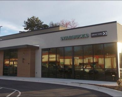 This Starbucks, located in Winston-Salem, North Carolina, utilized Fullerton Building Systems quick and efficient exterior building services.