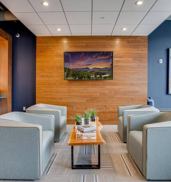 Natural colors and materials were chosen by Fuse in this amenity space at The Grove apartments in St. Paul, Minnesota.