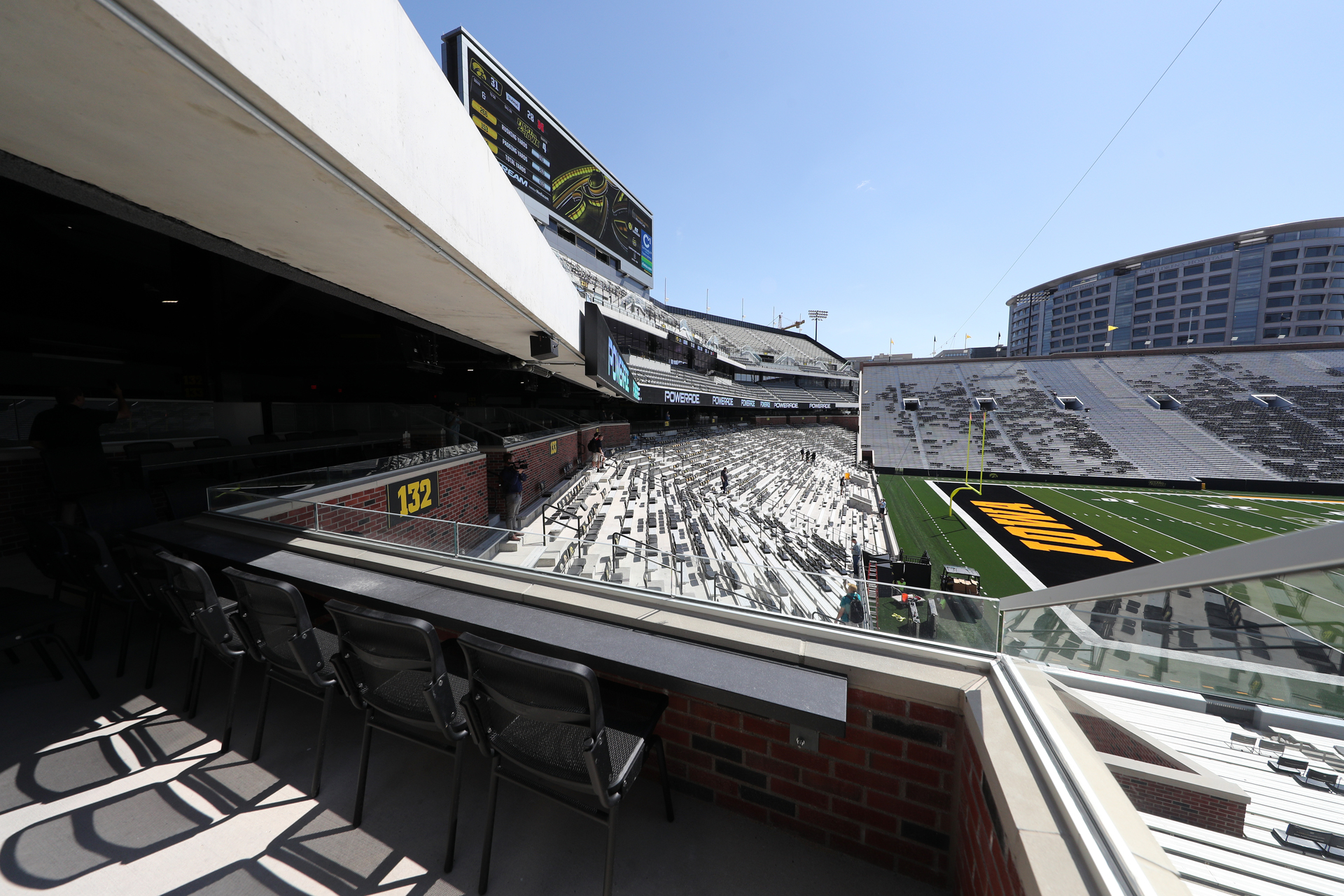 The view from a Loge Box in the new north end zone of Kinnick Stadium. Photography by Brian Ray/hawkeyessports.com