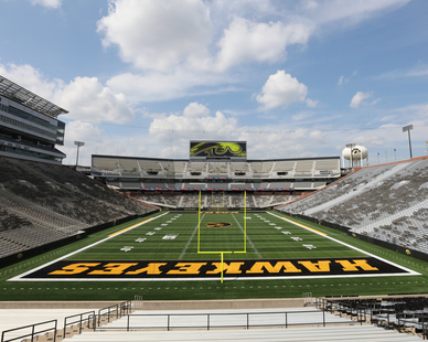 Workers complete the finishing touches on the new North End Zone of Kinnick Stadium on August 5, 2019, less than four weeks before the Iowa Hawkeyes' season opener against the Miami RedHawks on August 31. Photography by Brian Ray/hawkeyessports.com