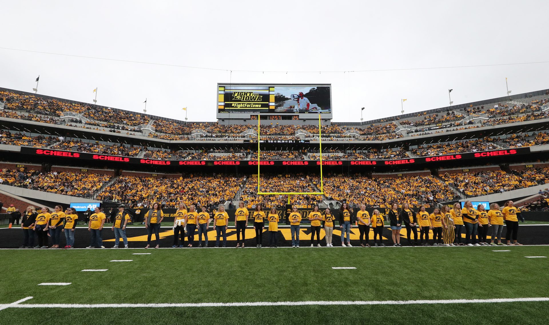 Alumni from the Iowa Rowing team are recognized during the Iowa Hawkeyes game against Middle Tennessee State on September 28, 2019. Photography by Brian Ray/hawkeyessports.com