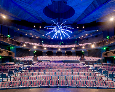 The Proscenium Theater is an 850 seat multi-purpose hall with a fully rigged stage house that can present academic, community, and professional touring shows.