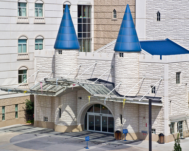 Creating vibrant worlds with imaginative themes throughout every floor, the Sanford Children's Castle of Care is a destination children's hospital where children from throughout the region come to be treated for minor to life-threatening disease and illnesses.