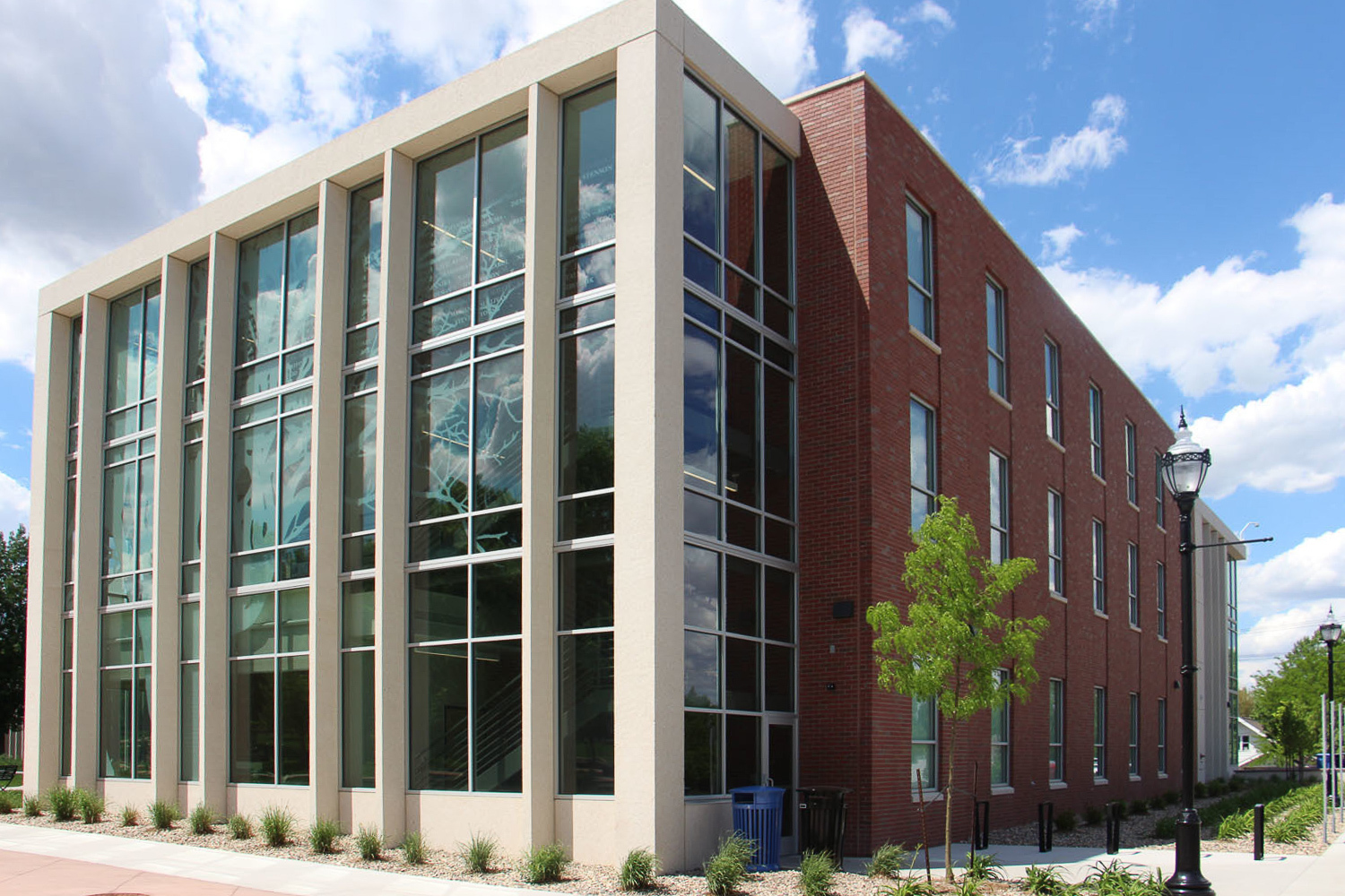A mixture of glass and precast creates a unique facade at Benedetto Hall in Sioux Falls, SD. Gage Brothers provided the precast structural components for the project.