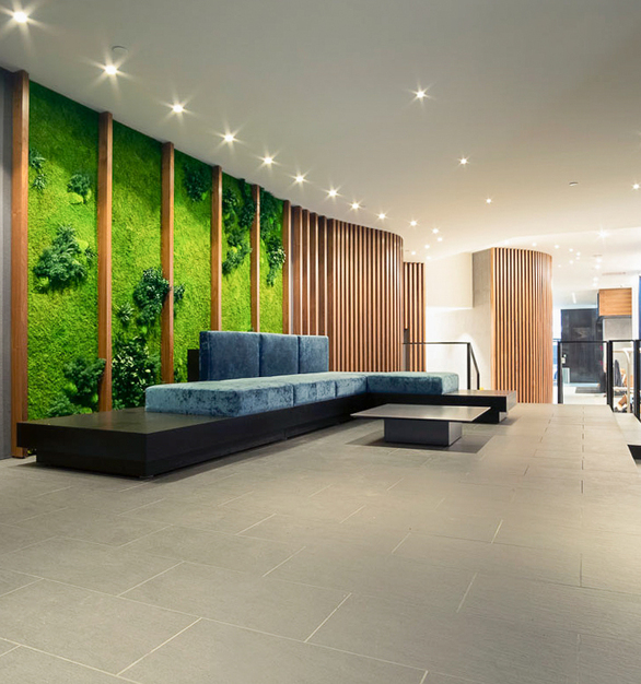 Incorporate different design elements to your indoor spaces with a variety of materials, including our vertical garden wall with Forest and Fern species over a Flat Moss canvas.