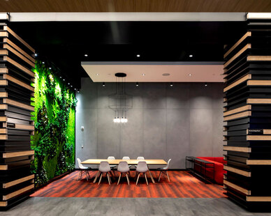 An open space with a garden wall featuring a multi-panel installation of Forest and Fern species over a Flat Moss canvas promotes a healthy environment for productivity and collaboration.