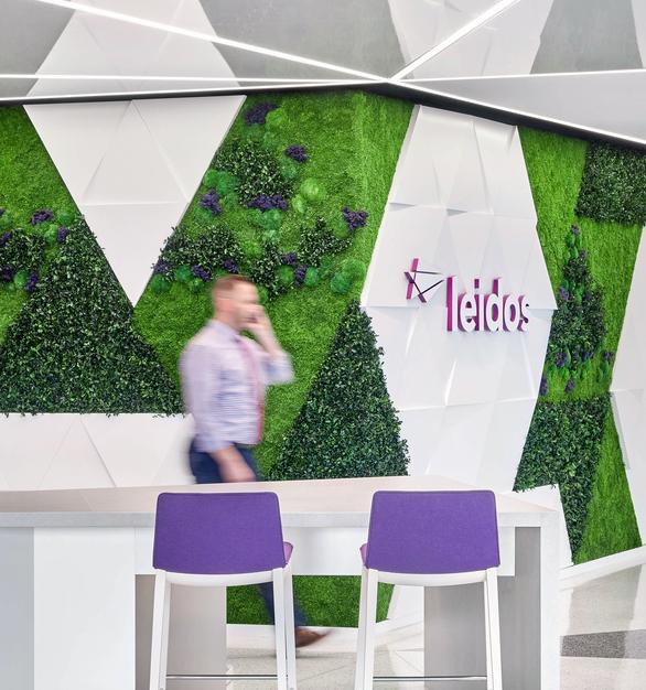 Garden on the Wall Leidos World Headquarters Reston Virginia Office Green  Wall Company Logo Branding