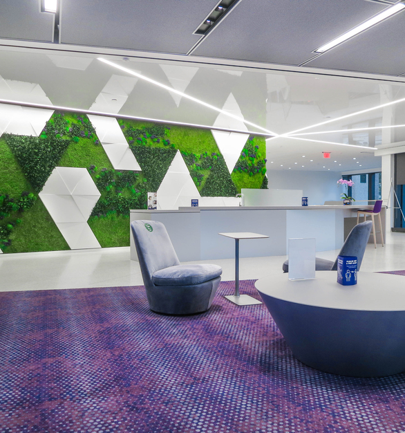 Garden on the Wall Leidos World Headquarters Reston Virginia Office Hallway Common Area Seating Tables Linear Recessed Lighting