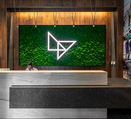 Garden on the Wall Lightview Student Apartments Reception Desk Lobby Design