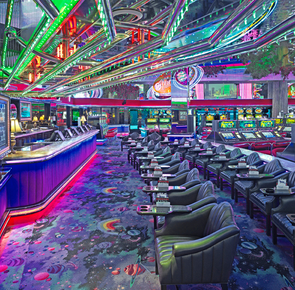 Gasser Chair Company manufactured the seating used at the Peppermill Casino located in Reno, NV.