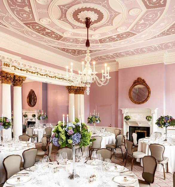 The elegant banquet hall at The Shelbourne Dublin with seating provided by Gasser Chair.