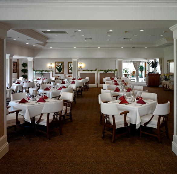 Elegant dining area at Gateway Golf featuring beautiful chairs by Gasser Chair.
