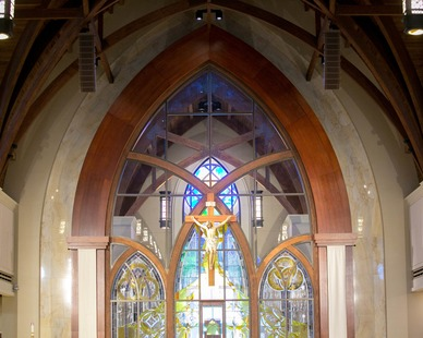 Gator Millworks St George Catholic Church Baton Rouge Louisiana Sanctuary Altar Windows and Millwork Trim