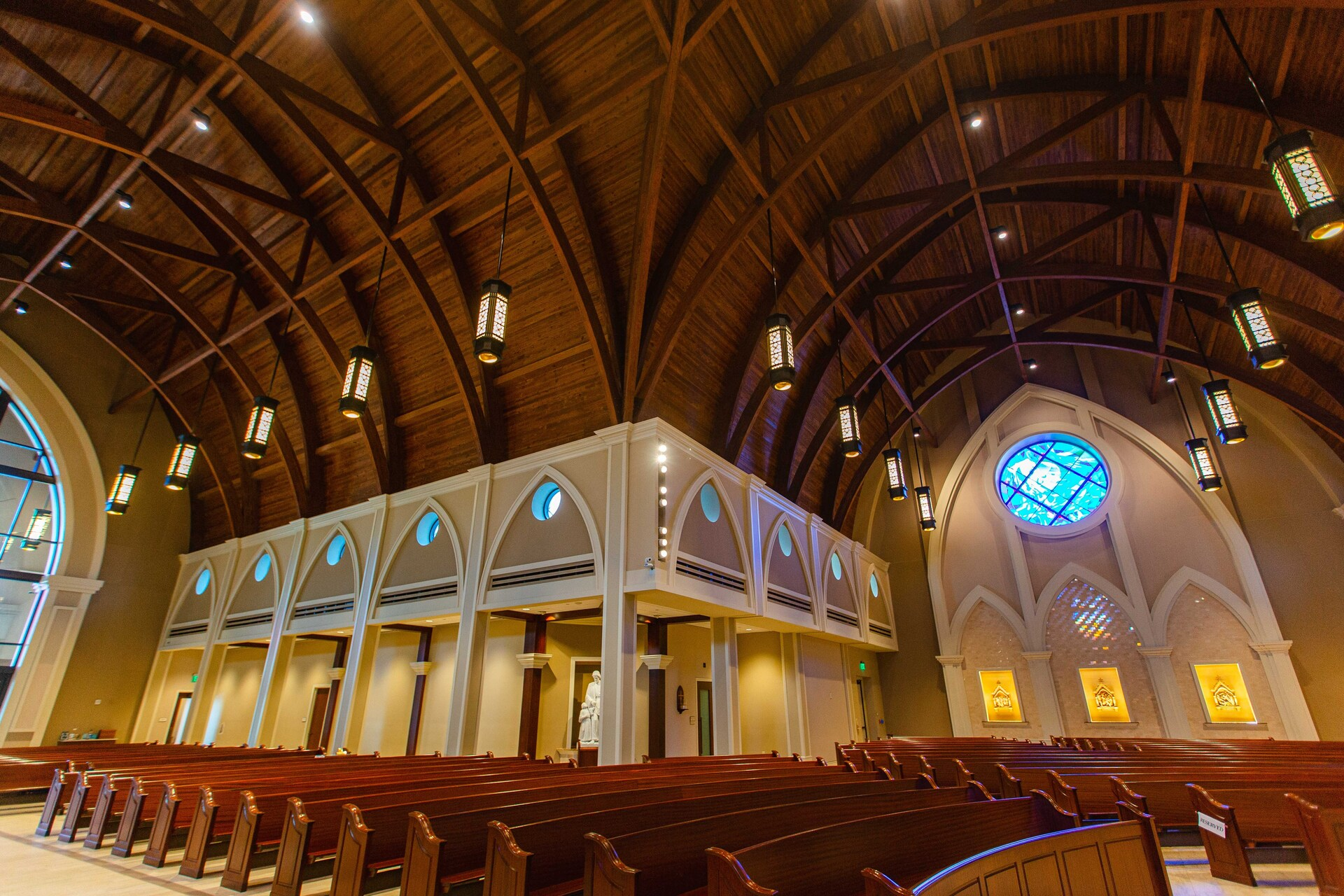 Gator Millworks St George Catholic Church Baton Rouge Louisiana Sanctuary Interior Lighting and Ceiling Millwork Detail and Finish
