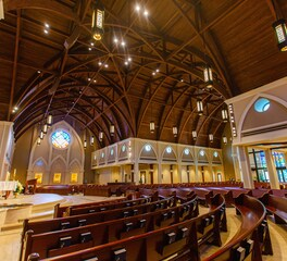 Gator Millworks St George Catholic Church Baton Rouge Louisiana Sanctuary Interior Millwork Altar and Pews