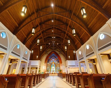 Gator Millworks St George Catholic Church Baton Rouge Louisiana Sanctuary Interior Millwork and Pendant Lights