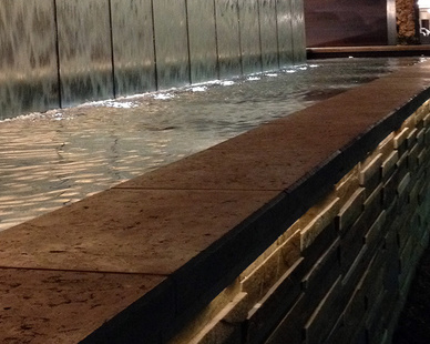 The exterior of the Graton Casino shows all the precast travertine wall caps that were manufactured and supplied by GC Products.