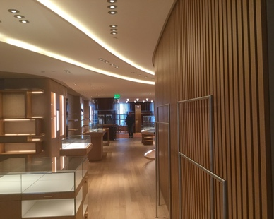 Along with the GFRG light coves, reflectors, and columns, GC Products also provided CNC milled templates for all the radius framing for the West Coast flagship Hermes Store.