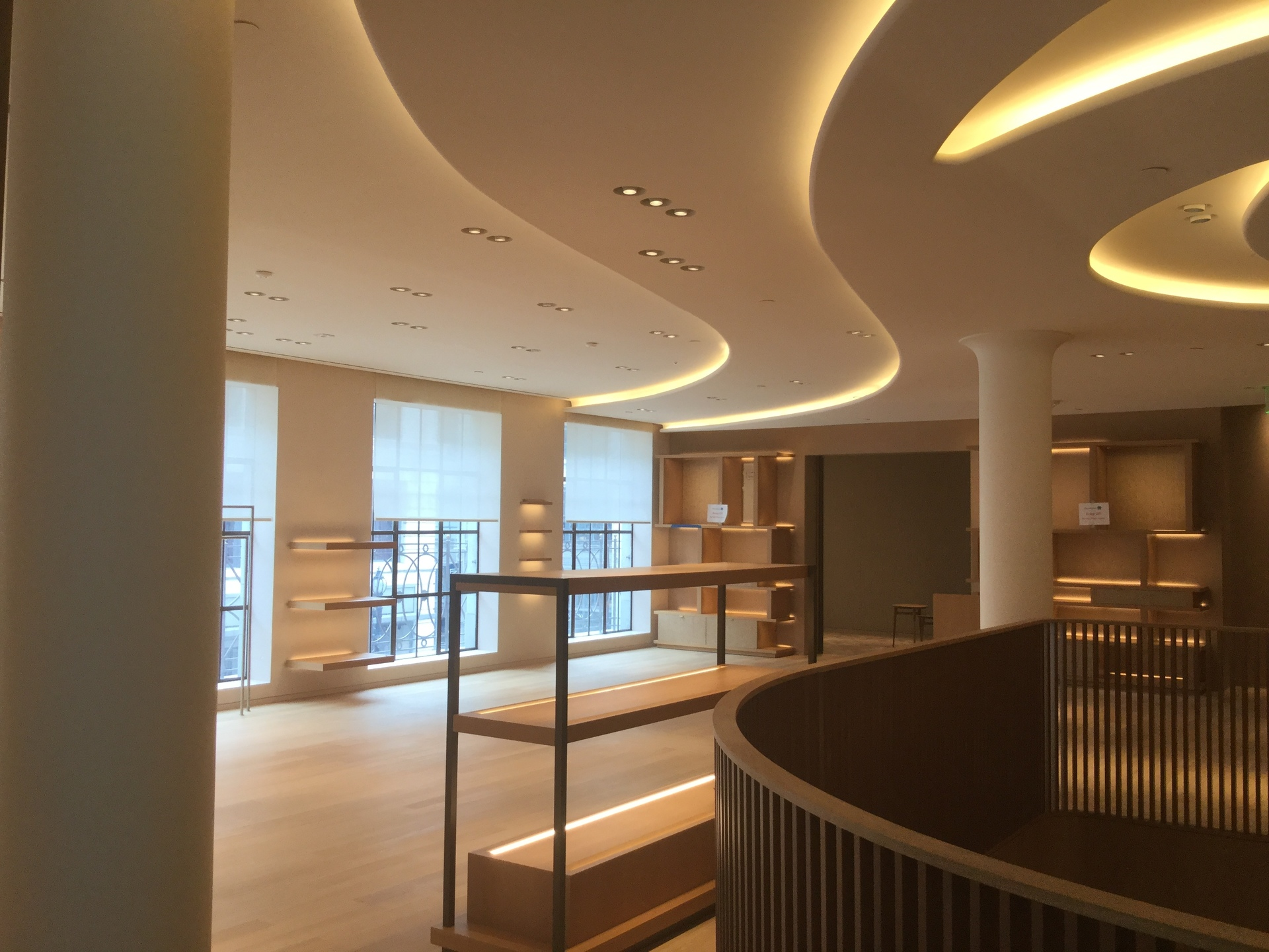 GC Products manufactured custom Glass Fiber Reinforced Gypsum (GFRG) light coves, reflectors, and columns for the Hermès West Coast flagship store.