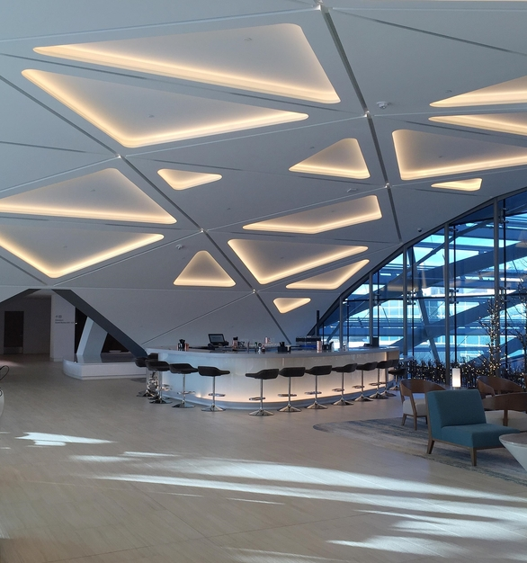 The ceiling at The Westin Denver International airport show the type of custom ceiling work GC Products can create using GRG and GFRG.
