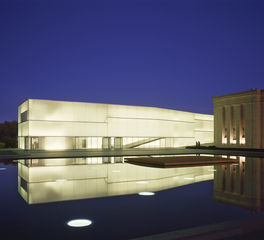 Glass Wall Exterior Night View at Nelson Atkins Museum of Art in Kansas City, MO Photo by Roland-Halbe