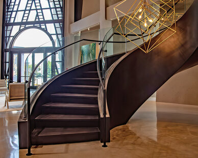Glasshape Hi Point Interior Tempered Glass Curved Staircase Railings