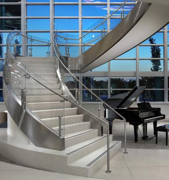 Glasshape Lee Health Estero Florida Common Area Curved Glass Staircase