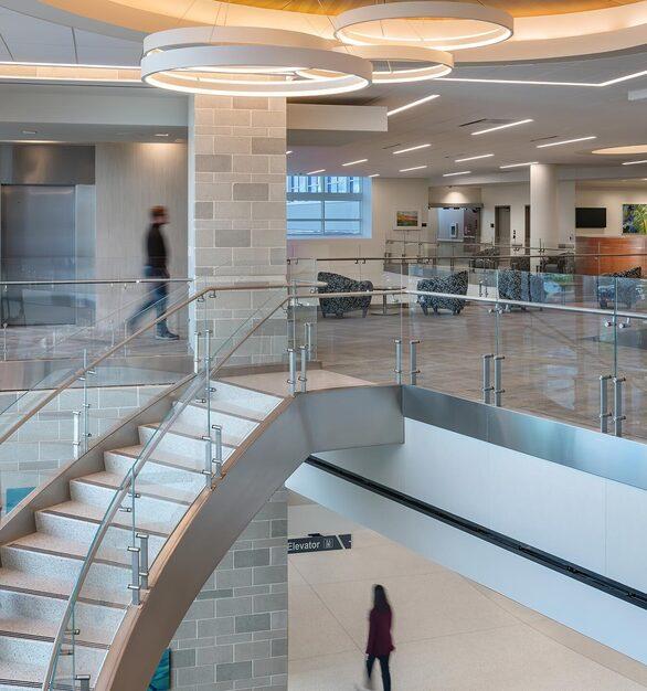 Glasshape Lee Health Estero Florida Upper Level Curved Glass Railings Staircase