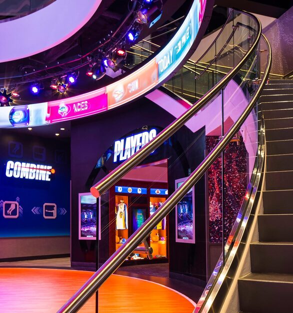Glasshape NBA Experience Disney Orlando Florida Glass Railings and Digital Display Walls