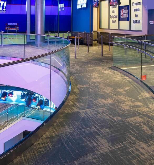 Glasshape NBA Experience Disney Orlando Florida Glass Railings and High Traffic Carpet
